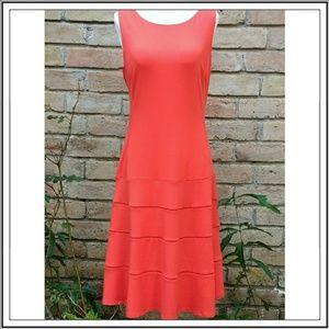 Ann Taylor Sleeveless Knit Orange Dress